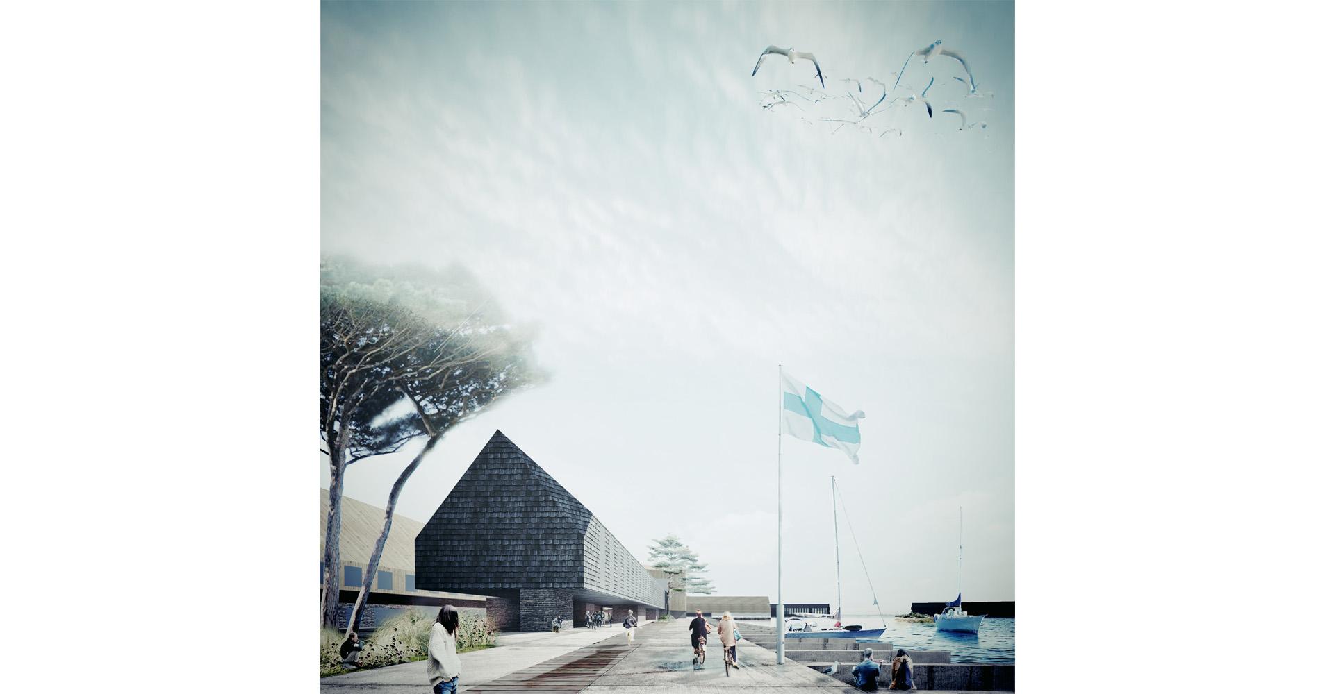 Render proposta Next Helsinki per la riqualificazione del Porto Sud di Helsinki