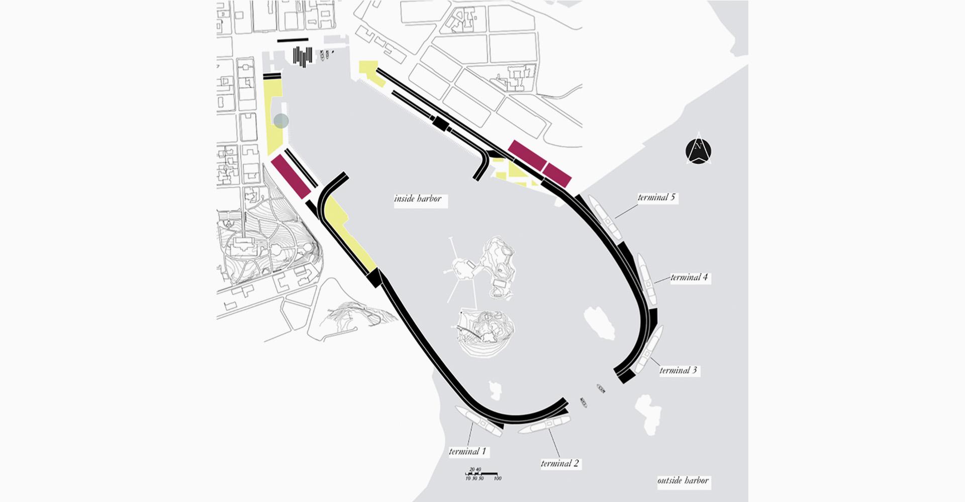 Planimetria proposta Next Helsinki per la riqualificazione del Porto Sud di Helsinki