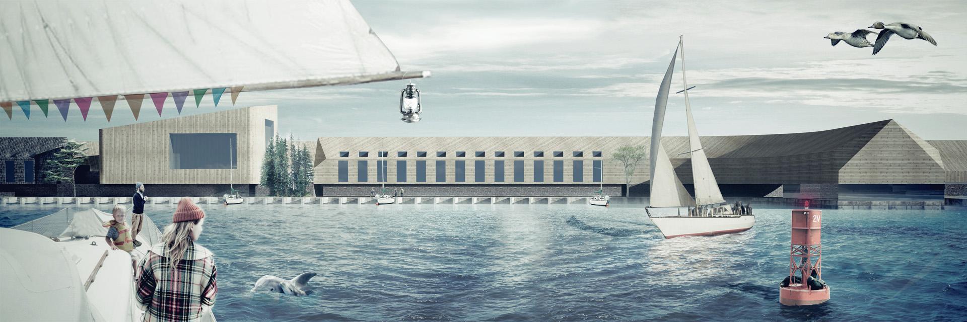 Render progetto Next Helsinki per la riqualificazione del Porto Sud di Helsinki