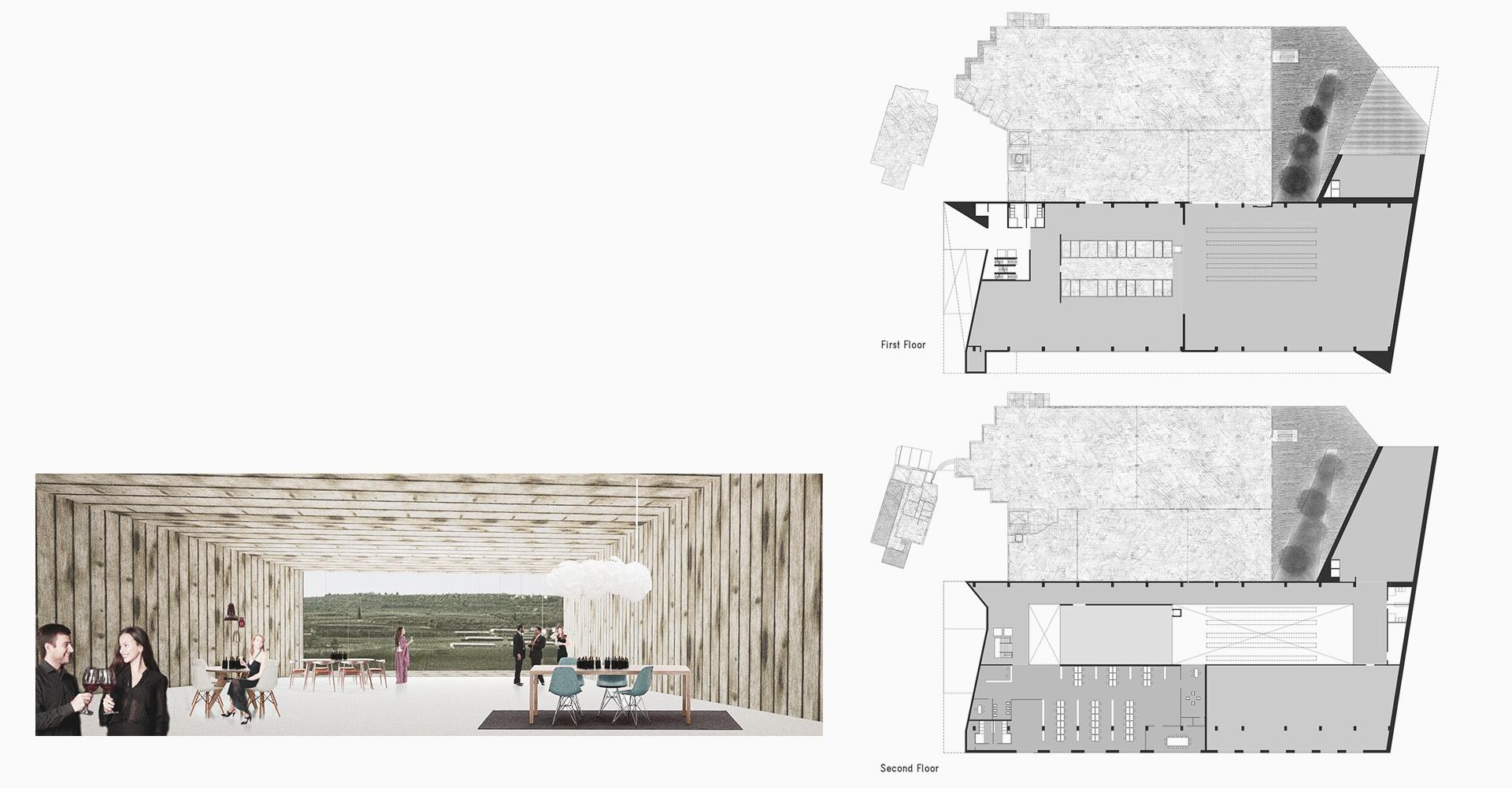 Vista interna progetto di restrutturazione cantina Valpolicella Negrar